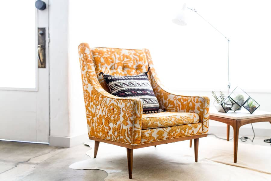 Chair-with-orange-pattern